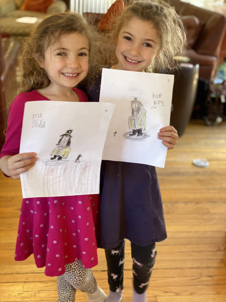 Lydia and Zoe with their Mr. Big Ed Vere drawings