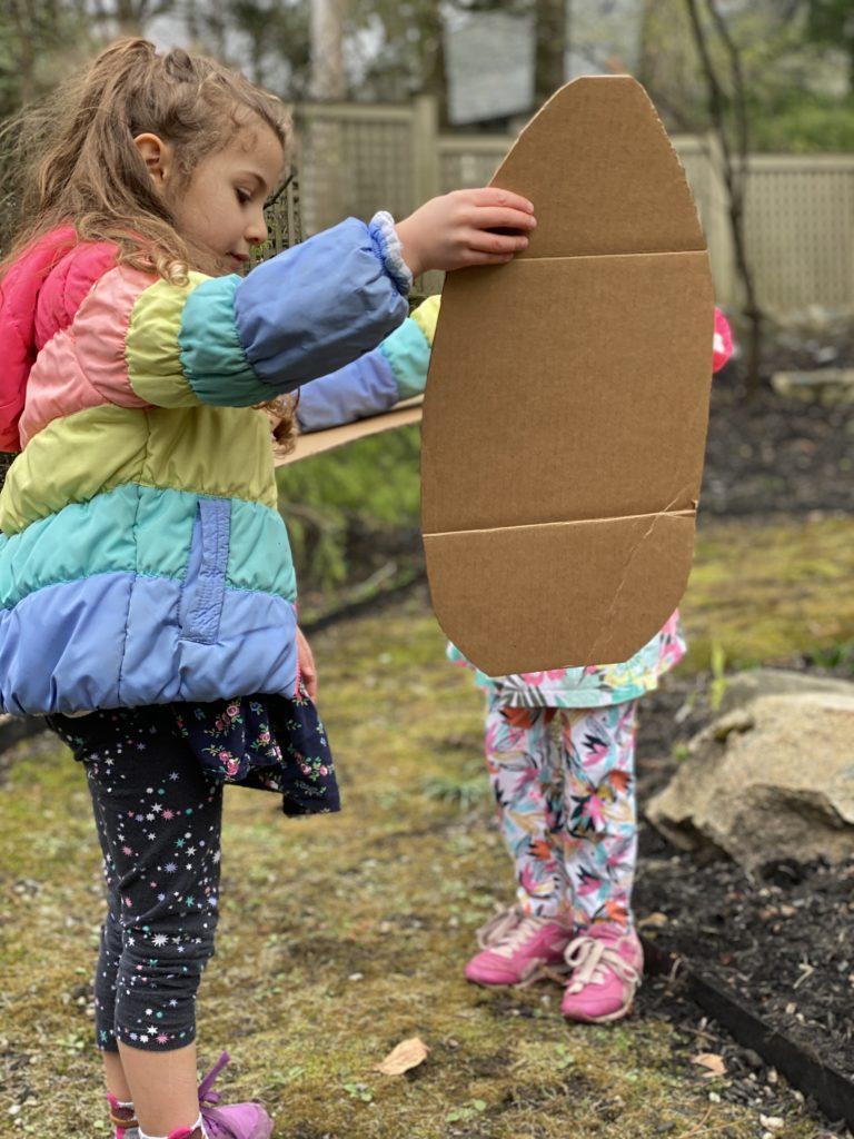 Recycle cardboard bird wing